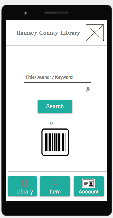Mobile IU for library, with search, account and location functions