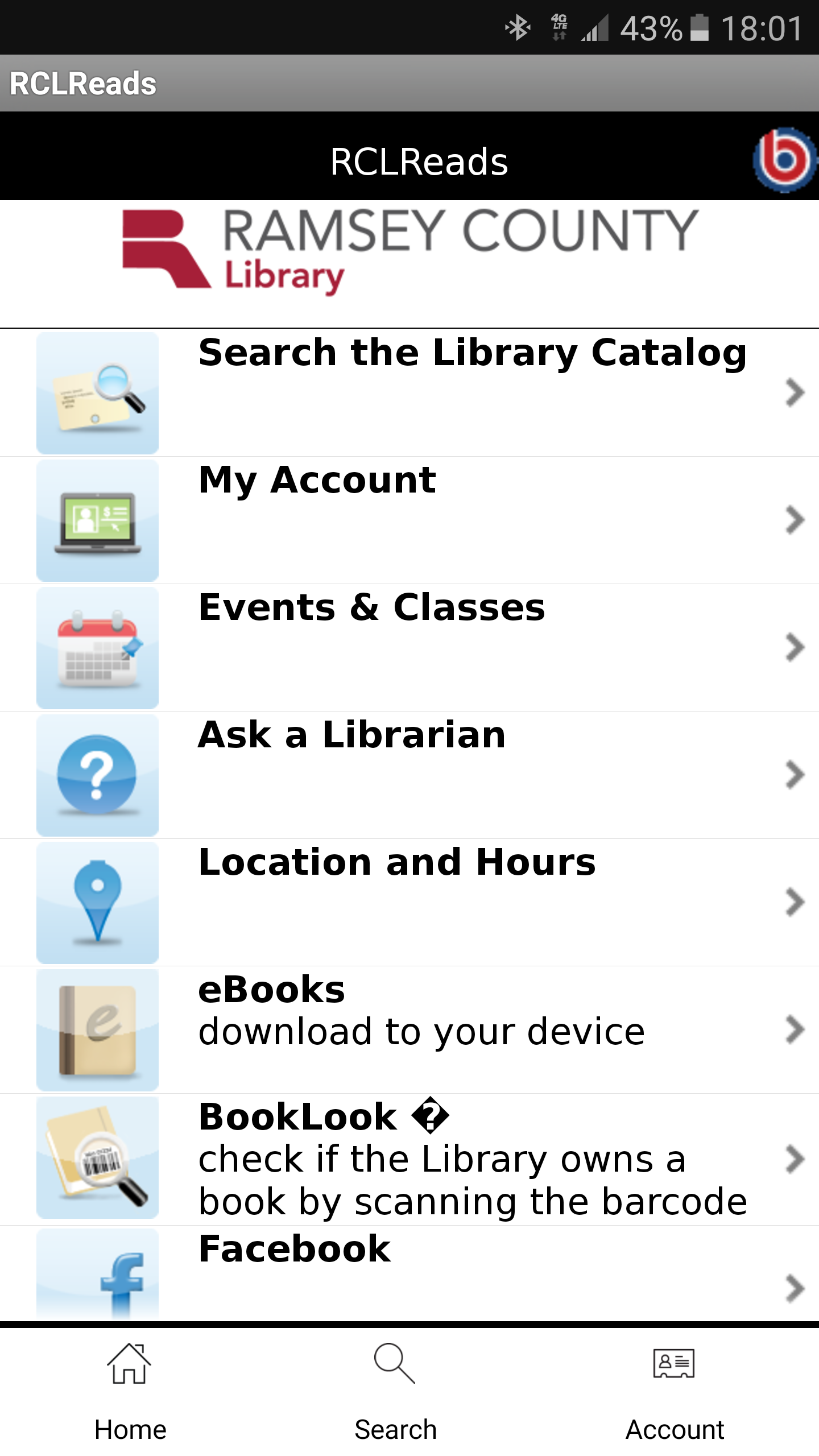 Library app screenshot with a list of