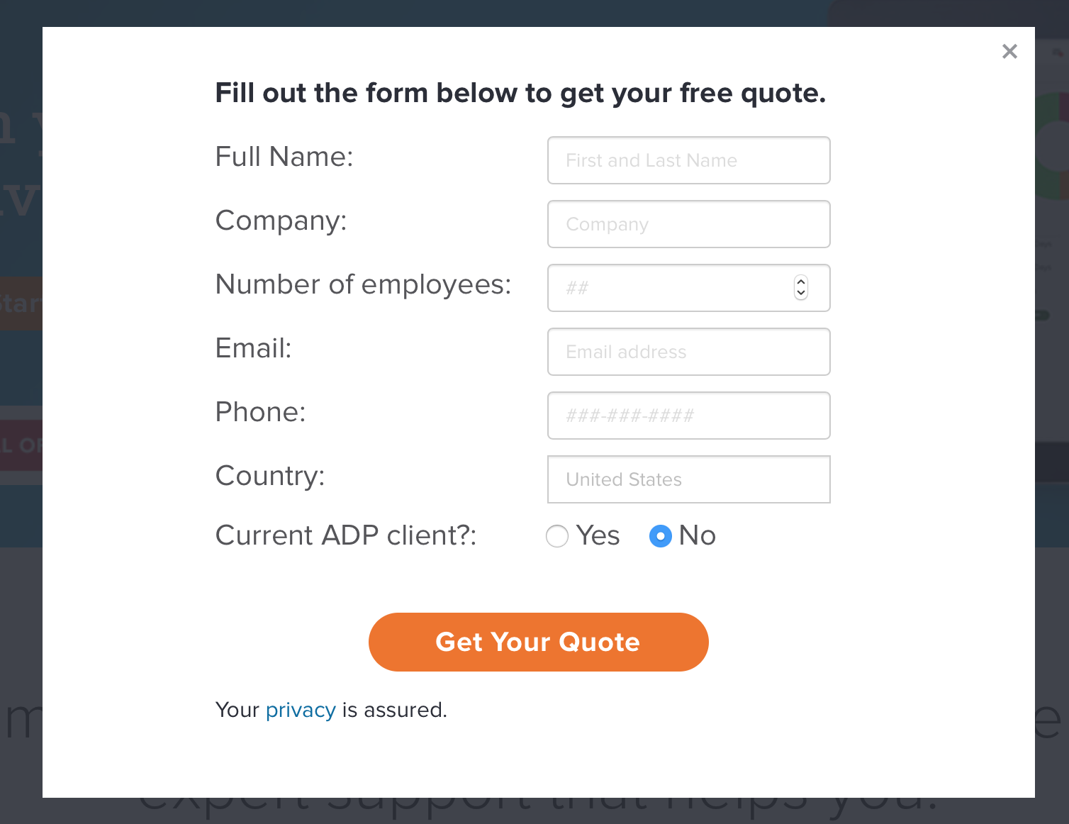 contact form with name, email, phone number, etc