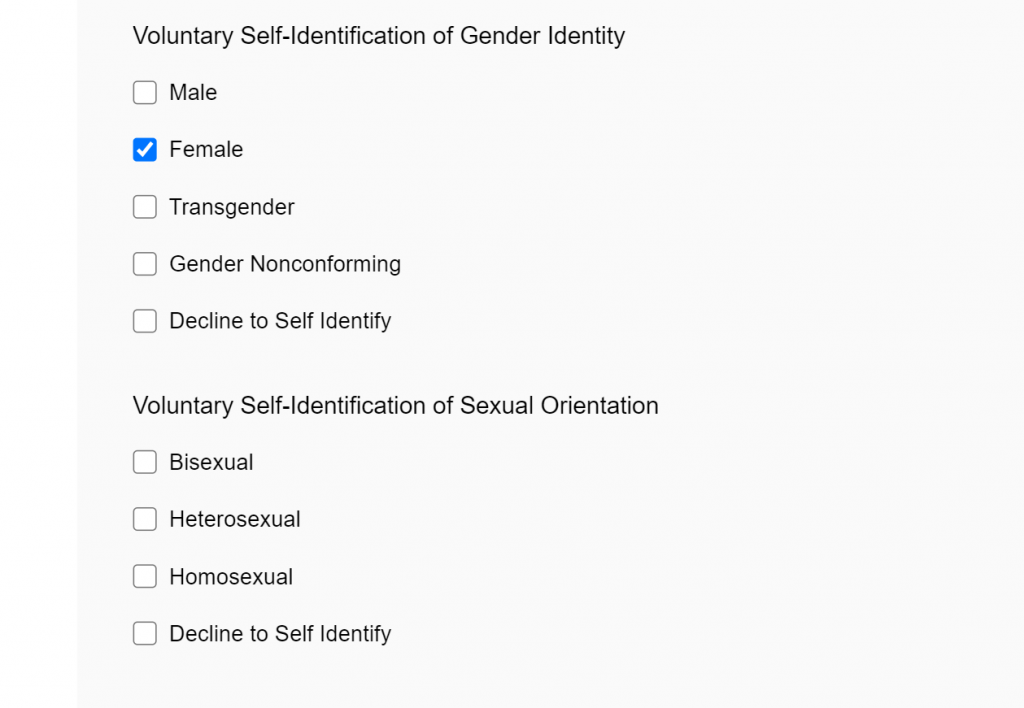 question asking applicants about their sexual orientation